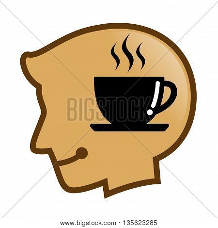 Vector stock of human head silhouette with cup coffee symbol inside