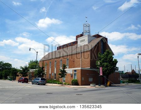 JOLIET, ILLINOIS / UNITED STATES - JUNE 3, 2015: The First Lutheran Church Offers worship services in downtown Joliet.