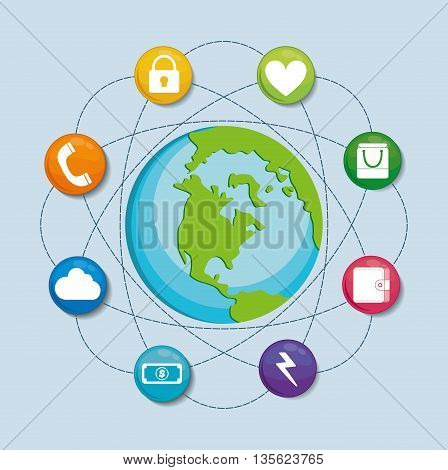 Social Media represented by icon set of buttons multimedia apps with planet. Colorfull and flat background