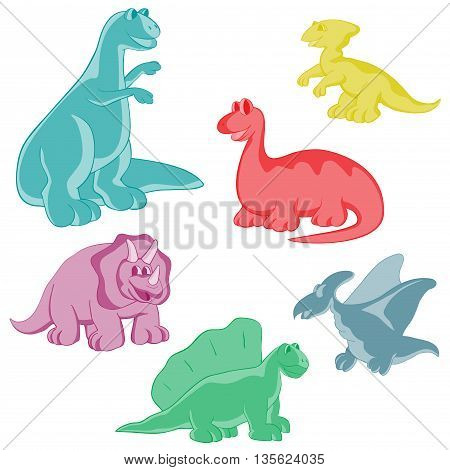 Set. Dinosaurs are kind and funny. Seamless series for young children