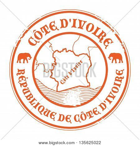 Grunge rubber stamp with the name and map of Ivory Coast, vector illustration