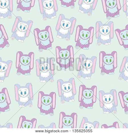Background cute funny rabbits. Children's background with rabbits with long ears. Background for baby rabbits with big eyes.