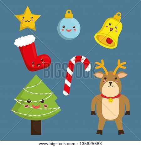 Merry Christmas concept represented by kawaii icon set cartoon icon. Colorfull and flat illustration