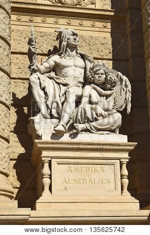allegorical statue of America and Australia on the facade of Museum of Natural History of Vienna (Naturhistorisches Museum Wien, circa 1889). Vienna, Austria