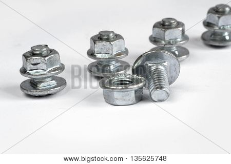 Set of bolts on the white background.