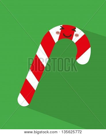 Merry Christmas concept represented by kawaii candy cartoon icon. Colorfull and flat illustration