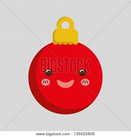 Merry Christmas concept represented by kawaii sphere cartoon icon. Colorfull and flat illustration