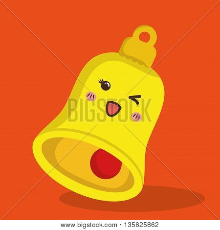 Merry Christmas concept represented by kawaii beel cartoon icon. Colorfull and flat illustration