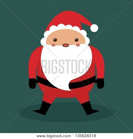Merry Christmas concept represented by kawaii santa cartoon icon. Colorfull and flat illustration