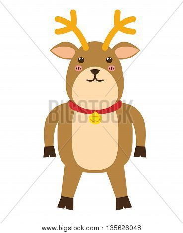 Merry Christmas concept represented by kawaii deer cartoon icon. Colorfull and flat illustration