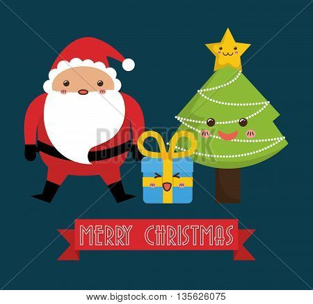 Merry Christmas concept represented by kawaii santa and pine tree cartoon icon. Colorfull and flat illustration