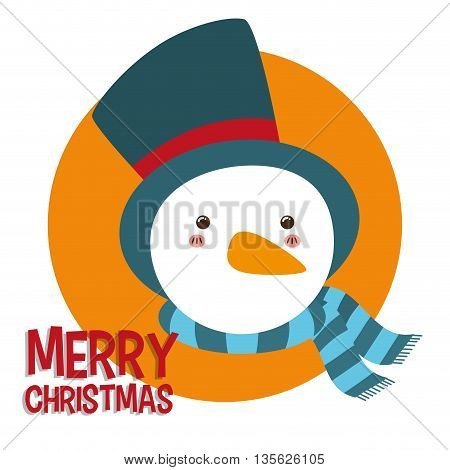 Merry Christmas concept represented by kawaii snowman cartoon icon. Colorfull and flat illustration