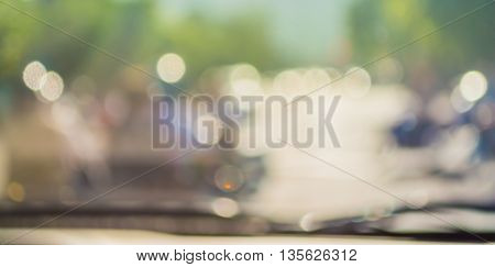 Blur Image Of Inside Cars With Bokeh On Day Time