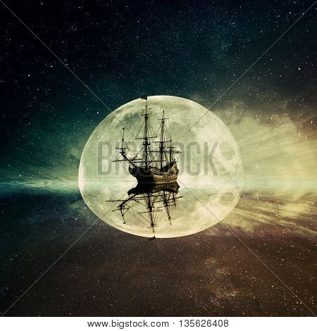 Vintage old ship floating in the ocean floating on a moonlight night starry sky background. Adventure and journey concept