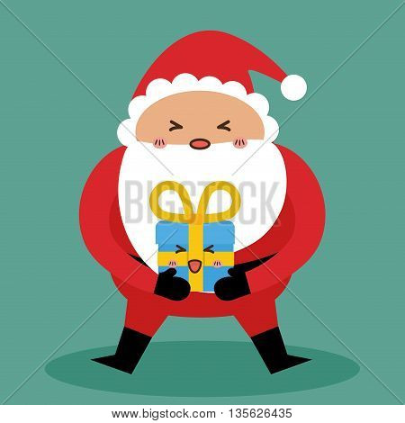 Merry Christmas concept represented by kawaii santa and gift cartoon icon. Colorfull and flat illustration
