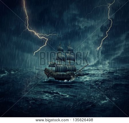 Vintage old sailing ship lost in the ocean in a rainy stormy night with lightnings in the sky. Adventure and journey concept
