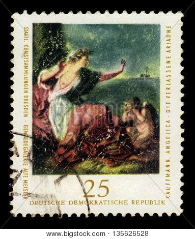 GERMANY - CIRCA 1976: a stamp printed in the Germany, Democratic Republic (DDR)  shows abandoned Ariadne, painting by Angelica Kauffmann, circa 1976;