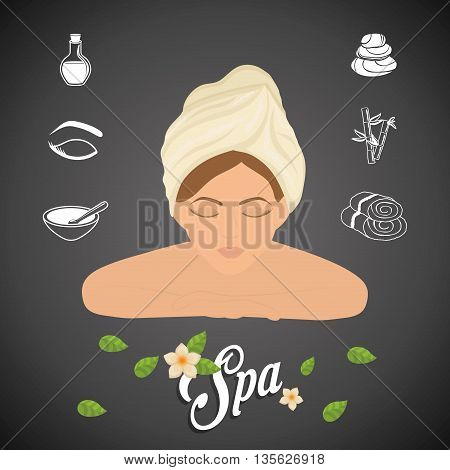 Spa center concept represented by woman cartoon icon. Colorfull illustration over grunge and black background