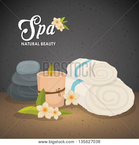 Spa center concept represented by candle and towel icon. Colorfull illustration over grunge and black background