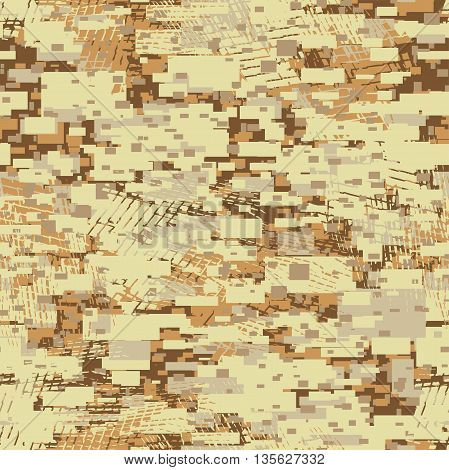 Camouflage desert disruptive block khaki seamless pattern .