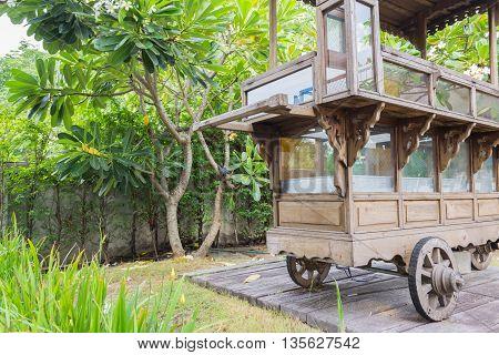 Decorative Vintage Wooden Cart In The Garden