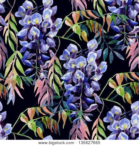 Wisteria flower. Watercolor wisteria seamless pattern. Hand painted illustration on black background