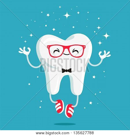 Happy healthy tooth in red glasses and red sneakers. Vector illustration on a blue background. Concept of children's dentistry. Excellent dental card. Cute character. Caries prevention.