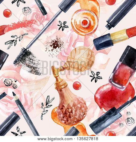 Watercolor beauty seamless pattern. Essential makeup must-haves painting. Beauty product background. Cosmetics on pink roses background. Hand painted illustration for fashionable design in pastel colors.