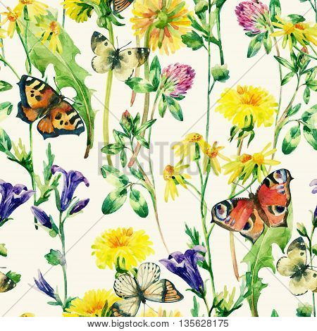 Meadow watercolor flowers and butterfly seamless pattern. Watercolor wild bellflowers dandelion daisy weeds and herbs background with butterfly. Hand painted natural illustration