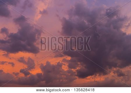 Wonderful Cloud On Twilight Sunset Sky Background