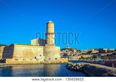 Most watchtower of Fort St. John - buildings to protect the Old City Port. Marseille -  large port in the south of France