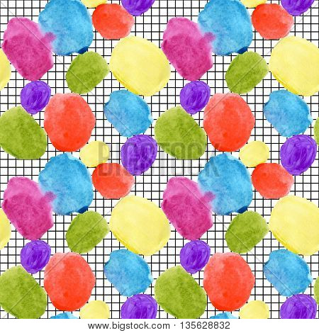 Colorful watercolor stain and grunge texture seamless pattern. Watercolor stain paint splatter. Abstract watercolor geometrical round shape grunge grid in pop art style. Abstract geometry background
