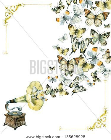 Vinyl gramophone and butterflies. Retro gramophone. Watercolor phonograph. Retro music poster. Hand painted illustration isolated on white background