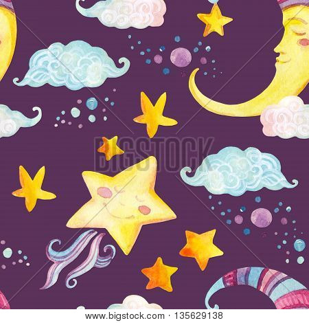 Watercolor fairy tale seamless pattern with magic sun moon cute little star and fairy clouds on purple background. Hand painted illustration for kids children design