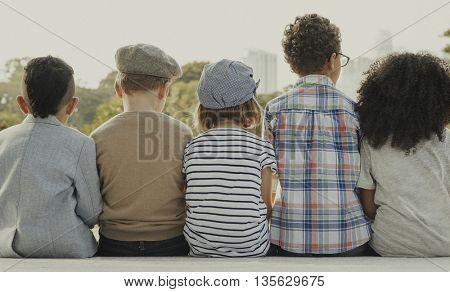Kids Fun Children Playful Retro Togetherness Concept