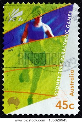 AUSTRALIA - CIRCA 2000: a stamp printed in the Australia shows Amputee Runing 2000 Paralympics Sydney circa 2000