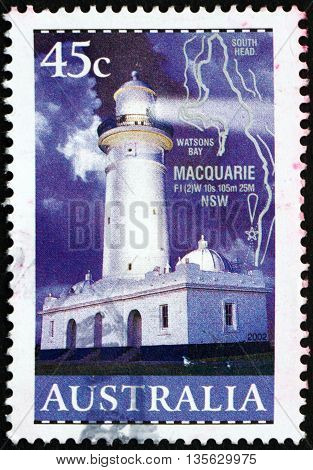 AUSTRALIA - CIRCA 2000: a stamp printed in the Australia shows Lighthouse Macquarie New South Wales circa 2000
