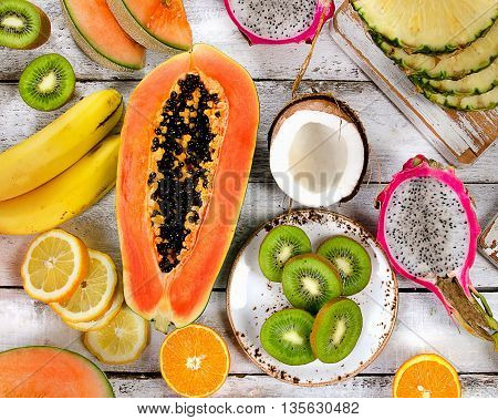 Tropical Fruits. Healthy Eating Concept.