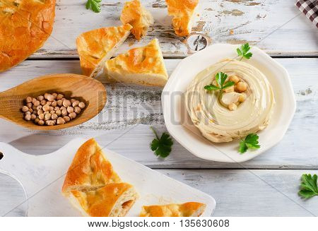 Plate Of  A Creamy Hummus With Pita.