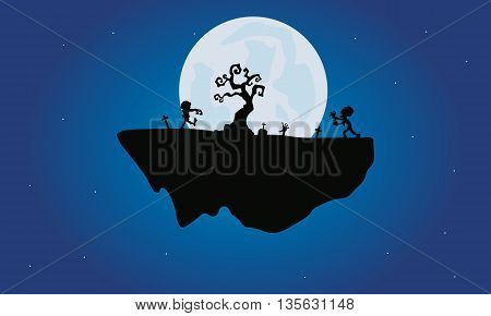 Halloween zombie and dry tree silhouette with moon backgrounds