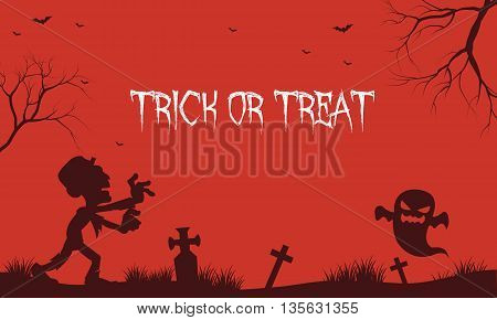 Halloween zombie and ghost red backgrounds illustration