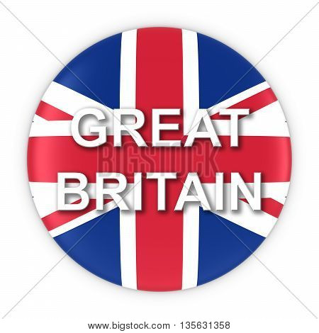 British Flag Button With Great Britain Text 3D Illustration