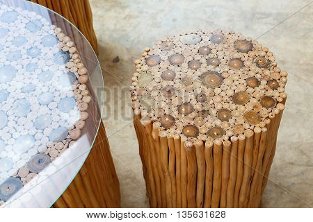 Handcraft Of Wooden Chair And Table