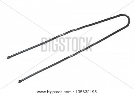 Black metal hairpin isolated on white