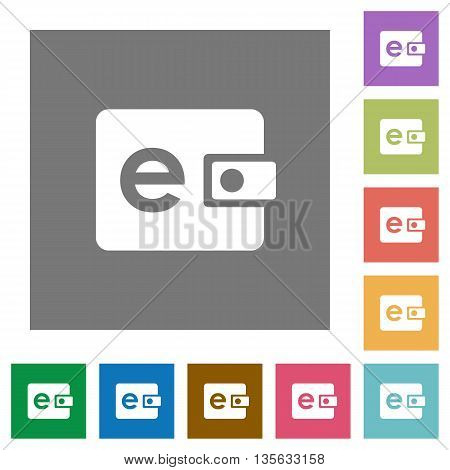 Electronic wallet flat icon set on color square background.