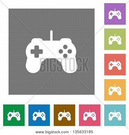Game controller flat icon set on color square background.