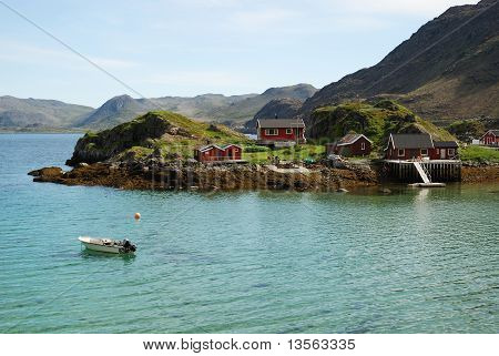 Island With Fishing Village In The Middle Of Fjord, Mageroya.