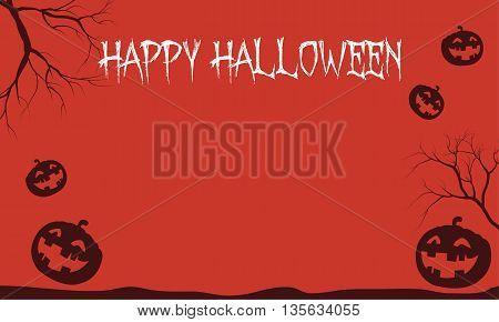 Red Backgrounds Halloween pumpkins scenery vector illustration