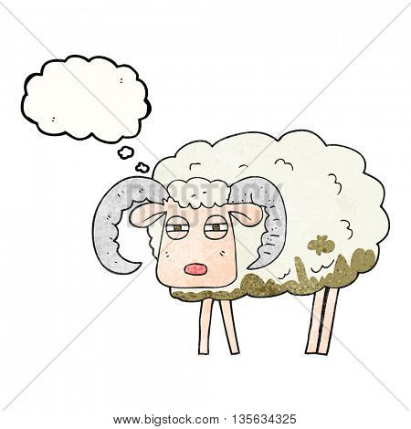 freehand drawn thought bubble textured cartoon ram covered in mud