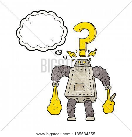 freehand drawn thought bubble textured cartoon confused robot carrying shopping